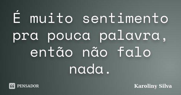 É muito sentimento pra pouca palavra, então não falo nada.... Frase de Karoliny Silva.