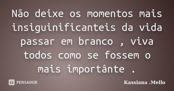 Não deixe os momentos mais insiguinificanteis da vida passar em branco , viva todos como se fossem o mais importânte .... Frase de Kassiana .Mello.