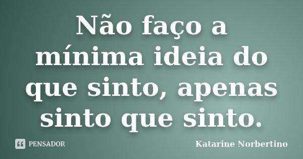 Não faço a mínima ideia do que sinto, apenas sinto que sinto.... Frase de Katarine Norbertino.