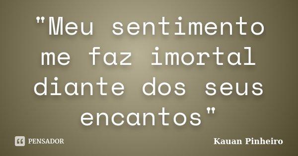 """""""Meu sentimento me faz imortal diante dos seus encantos""""... Frase de Kauan Pinheiro."""