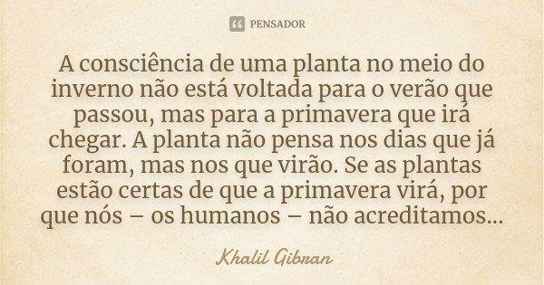 """""""A consciência de uma planta no meio do inverno não está voltada para o verão que passou, mas para a primavera que irá chegar. A planta não pensa nos dias que j... Frase de Khalil Gibran."""
