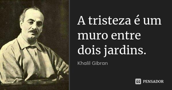 A tristeza é um muro entre dois jardins.... Frase de Khalil Gibran.
