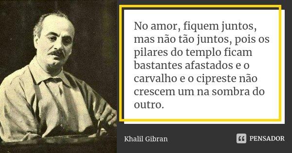 No amor, fiquem juntos, mas não tão juntos, pois os pilares do templo ficam bastantes afastados e o carvalho e o cipreste não crescem um na sombra do outro.... Frase de Khalil Gibran.