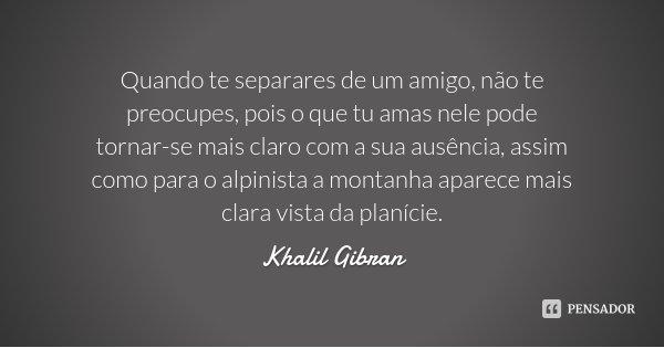 Quando te separares de um amigo, não te preocupes, pois o que tu amas nele pode tornar-se mais claro com a sua ausência, assim como para o alpinista a montanha ... Frase de Khalil Gibran.