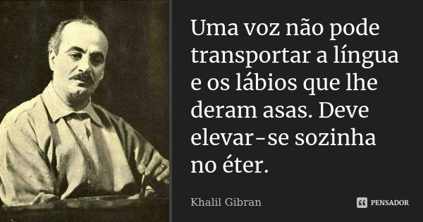 Uma voz não pode transportar a língua e os lábios que lhe deram asas. Deve elevar-se sozinha no éter.... Frase de Khalil Gibran.