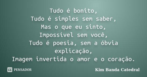 Tudo é bonito, Tudo é simples sem saber, Mas o que eu sinto, Impossível sem você, Tudo é poesia, sem a óbvia explicação, Imagem invertida o amor e o coração.... Frase de Kim (Banda Catedral).