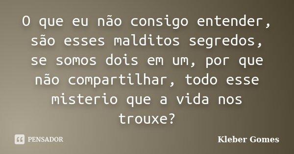 O que eu não consigo entender, são esses malditos segredos, se somos dois em um, por que não compartilhar, todo esse misterio que a vida nos trouxe?... Frase de Kleber Gomes.