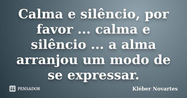 Calma e silêncio, por favor ... calma e silêncio ... a alma arranjou um modo de se expressar.... Frase de Kléber Novartes.