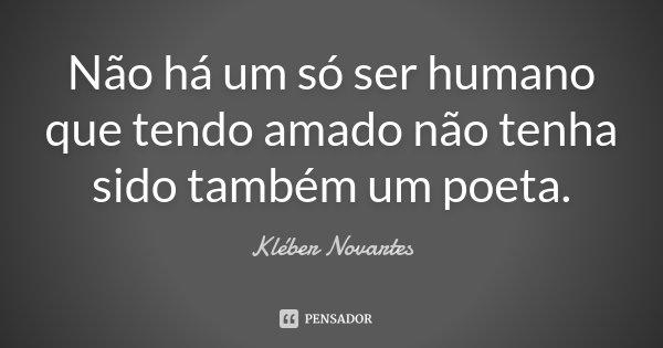 Não há um só ser humano que tendo amado não tenha sido também um poeta.... Frase de Kléber Novartes.