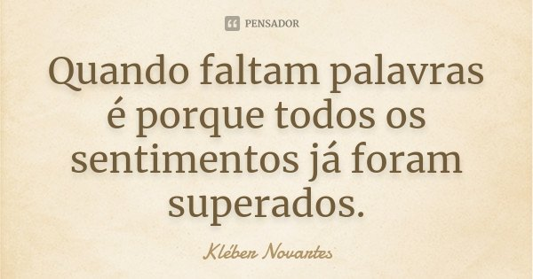 Quando faltam palavras é porque todos os sentimentos já foram superados.... Frase de Kléber Novartes.