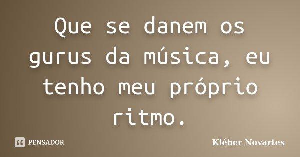 Que se danem os gurus da música, eu tenho meu próprio ritmo.... Frase de Kléber Novartes.