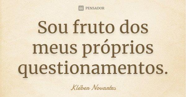 Sou fruto dos meus próprios questionamentos.... Frase de Kléber Novartes.
