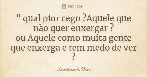 """"""" qual pior cego ?Aquele que não quer enxergar ? ou Aquele como muita gente que enxerga e tem medo de ver ?... Frase de Lamharck Dias."""