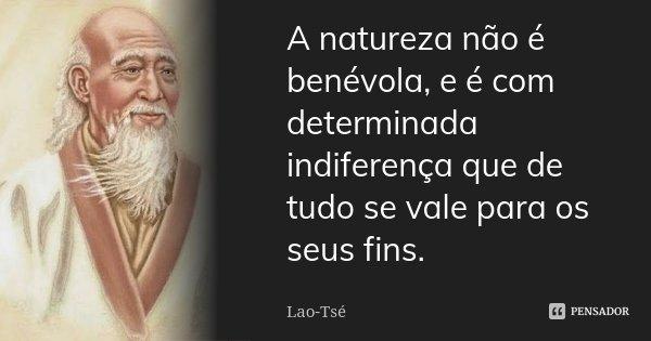 A natureza não é benévola, e é com determinada indiferença que de tudo se vale para os seus fins.... Frase de Lao-Tsé.