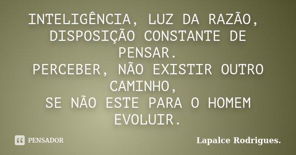 INTELIGÊNCIA, LUZ DA RAZÃO, DISPOSIÇÃO CONSTANTE DE PENSAR. PERCEBER, NÃO EXISTIR OUTRO CAMINHO, SE NÃO ESTE PARA O HOMEM EVOLUIR.... Frase de Lapalce Rodrigues..