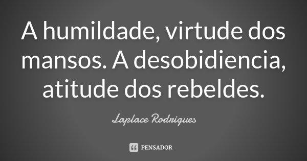 A humildade, virtude dos mansos. A desobidiencia, atitude dos rebeldes.... Frase de Laplace Rodrigues..