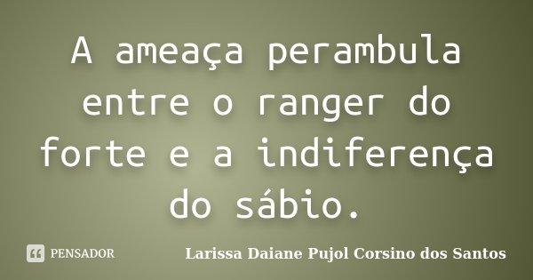 A ameaça perambula entre o ranger do forte e a indiferença do sábio.... Frase de Larissa Daiane Pujol Corsino dos Santos.