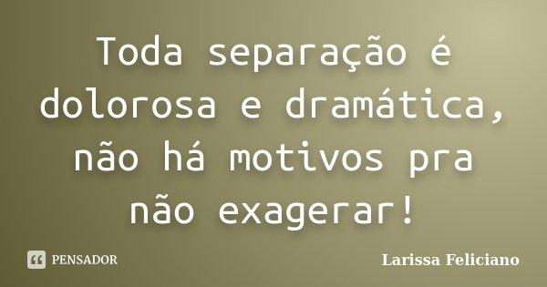 Toda separação é dolorosa e dramática, não há motivos pra não exagerar!... Frase de Larissa Feliciano.