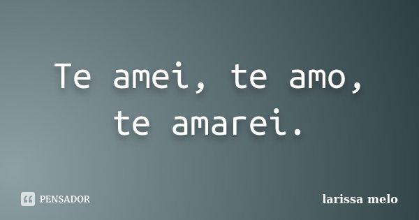 Te amei, te amo, te amarei.... Frase de Larissa Melo.