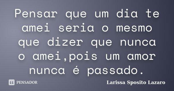 Pensar que um dia te amei seria o mesmo que dizer que nunca o amei,pois um amor nunca é passado.... Frase de Larissa Sposito Lazaro.