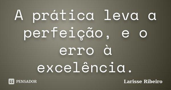 A prática leva a perfeição, e o erro à excelência.... Frase de Larisse Ribeiro.