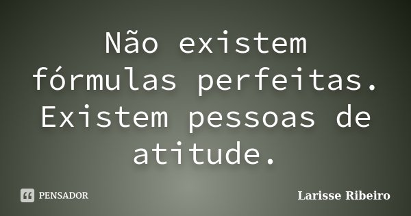 Não existem fórmulas perfeitas. Existem pessoas de atitude.... Frase de Larisse Ribeiro.