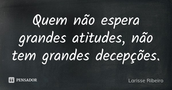 Quem não espera grandes atitudes, não tem grandes decepções.... Frase de Larisse Ribeiro.