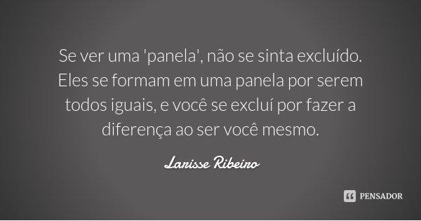 Se ver uma 'panela', não se sinta excluído. Eles se formam em uma panela por serem todos iguais, e você se excluí por fazer a diferença ao ser você mesmo.... Frase de Larisse Ribeiro.