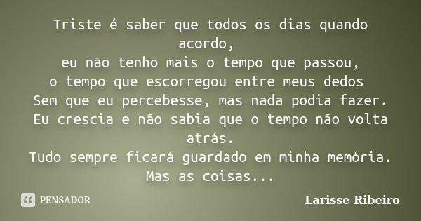 Triste é saber que todos os dias quando acordo, eu não tenho mais o tempo que passou, o tempo que escorregou entre meus dedos Sem que eu percebesse, mas nada po... Frase de Larisse Ribeiro.