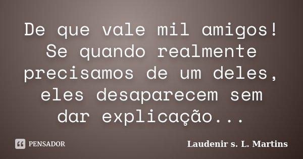 De que vale mil amigos! Se quando realmente precisamos de um deles, eles desaparecem sem dar explicação...... Frase de Laudenir s. L. Martins.