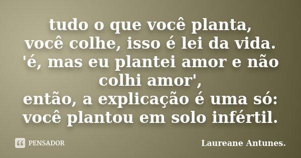 tudo o que você planta, você colhe, isso é lei da vida. 'é, mas eu plantei amor e não colhi amor', então, a explicação é uma só: você plantou em solo infértil.... Frase de Laureane Antunes.