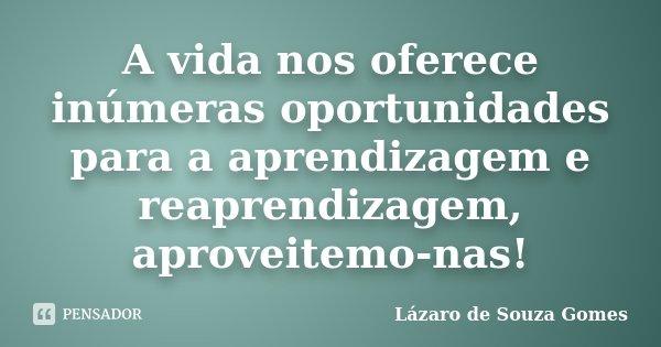A vida nos oferece inúmeras oportunidades para a aprendizagem e reaprendizagem, aproveitemo-nas!... Frase de Lázaro de Souza Gomes.