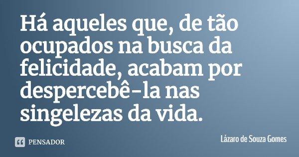 Há aqueles que, de tão ocupados na busca da felicidade, acabam por despercebê-la nas singelezas da vida.... Frase de Lázaro de Souza Gomes.