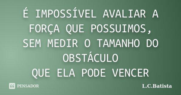 É IMPOSSÍVEL AVALIAR A FORÇA QUE POSSUIMOS, SEM MEDIR O TAMANHO DO OBSTÁCULO QUE ELA PODE VENCER... Frase de L.C.Batista.