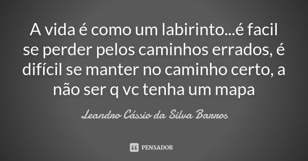 A vida é como um labirinto...é facil se perder pelos caminhos errados, é difícil se manter no caminho certo, a não ser q vc tenha um mapa... Frase de Leandro Cassio da SIlva Barros.