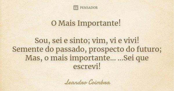 O Mais Importante! Sou, sei e sinto; vim, vi e vivi! Semente do passado, prospecto do futuro; Mas, o mais importante... ...Sei que escrevi!... Frase de Leandro Coimbra.