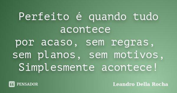 Perfeito é quando tudo acontece por acaso, sem regras, sem planos, sem motivos, Simplesmente acontece!... Frase de Leandro Della Rocha.