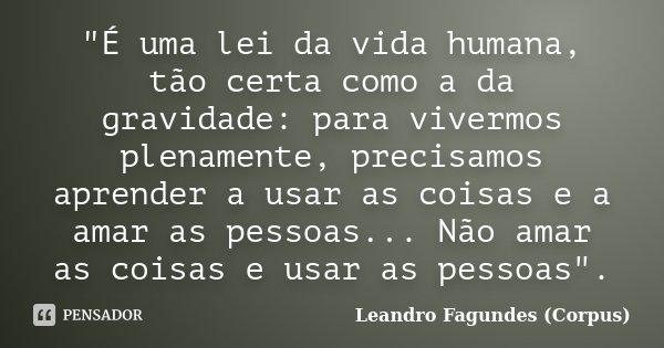 """""""É uma lei da vida humana, tão certa como a da gravidade: para vivermos plenamente, precisamos aprender a usar as coisas e a amar as pessoas... Não amar as... Frase de Leandro Fagundes (Corpus)."""