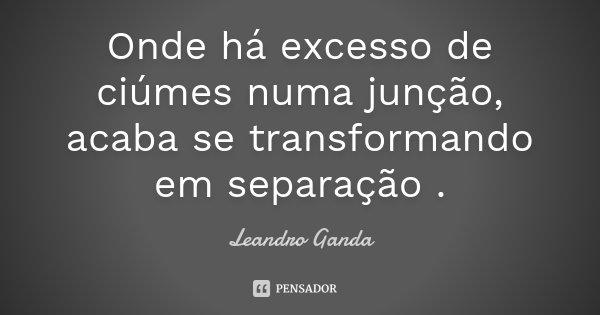 Onde há excesso de ciúmes numa junção, acaba se transformando em separação .... Frase de Leandro Ganda.