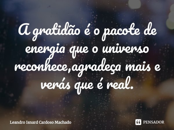 A gratidão é o pacote de energia que o universo reconhece,agradeça mais e verás que é real.... Frase de Leandro Isnard Cardoso Machado.