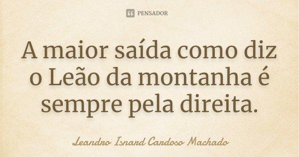 A maior saída como diz o Leão da montanha é sempre pela direita.... Frase de Leandro Isnard Cardoso Machado.