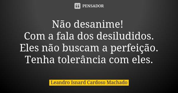Não desanime! Com a fala dos desiludidos. Eles não buscam a perfeição. Tenha tolerância com eles.... Frase de Leandro Isnard Cardoso Machado.