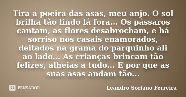 Tira a poeira das asas, meu anjo. O sol brilha tão lindo lá fora... Os pássaros cantam, as flores desabrocham, e há sorriso nos casais enamorados, deitados na g... Frase de Leandro Soriano Ferreira.