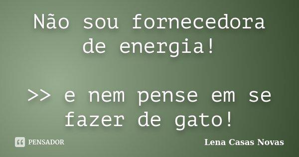 Não sou fornecedora de energia! >> e nem pense em se fazer de gato!... Frase de Lena Casas Novas.