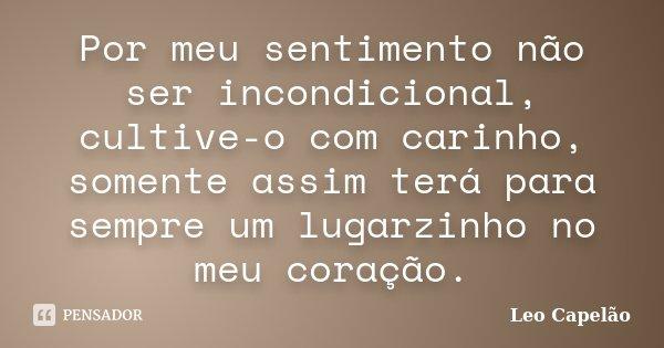 Por meu sentimento não ser incondicional, cultive-o com carinho, somente assim terá para sempre um lugarzinho no meu coração.... Frase de Leo Capelão.
