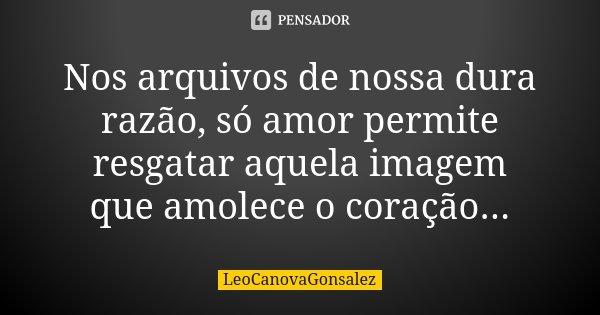 Nos arquivos de nossa dura razão, só amor permite resgatar aquela imagem que amolece o coração...... Frase de LéoCanovaGonsalez.