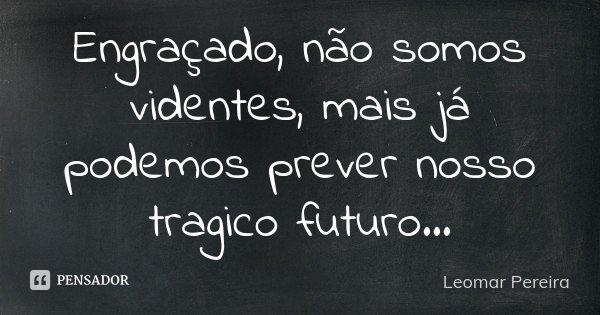 Engraçado, não somos videntes, mais já podemos prever nosso tragico futuro...... Frase de Leomar Pereira.