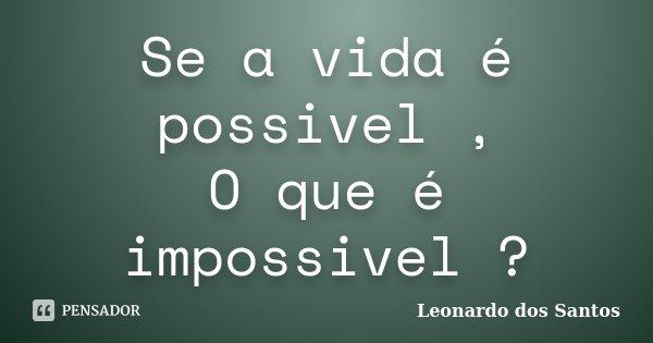 Se a vida é possivel , O que é impossivel ?... Frase de Leonardo dos Santos.