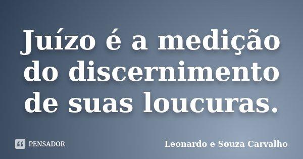 Juízo é a medição do discernimento de suas loucuras.... Frase de Leonardo e Souza Carvalho.