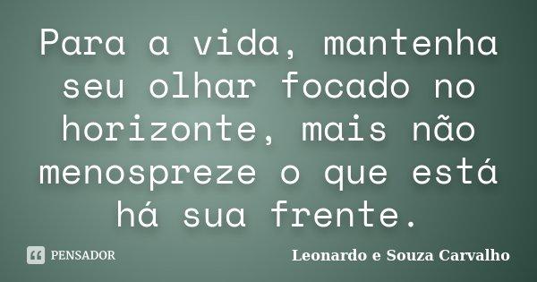 Para a vida, mantenha seu olhar focado no horizonte, mais não menospreze o que está há sua frente.... Frase de Leonardo e Souza Carvalho.